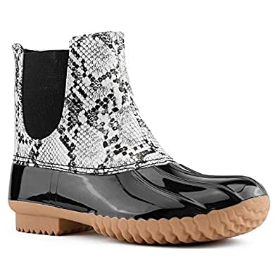 RF ROOM OF FASHION Women's Rubber Mid Calf Warm Water Resistant Faux Fur Fleece Lined Hiking Snow Boots White Snake Size.6
