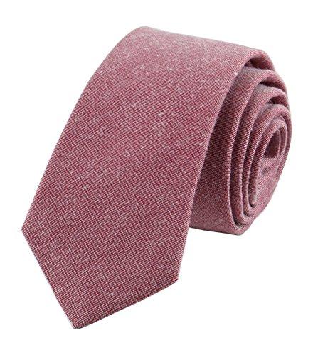 (Secdtie Men's Skinny Tie Causal Cotton Solid Color Linen Narrow Slim cut Necktie (One Size, Deep Red) )