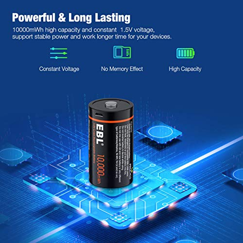 EBL D Rechargeable Batteries 10000mWh 2 Packs - High Capacity D Size Batteries with Micro USB Input and Storage Case