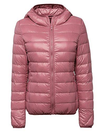 Manteau Courte Pink Chaud Veste À Femme Légère Doudoune Hiver Blouson Ultra Capuche wIxpxq64XZ