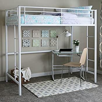 Genial Walker Edison Twin Metal Loft Bed, White