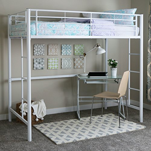Walker Edison Twin Metal Loft Bed, White (Bed Bunk 1 Bed)