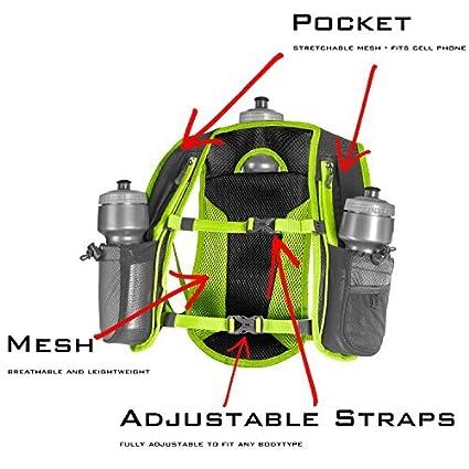 Amazon.com : SLS3 Running Hydration Vest, Backpack, 3 Bottles, Adjustable Strap System - Red : Sports & Outdoors