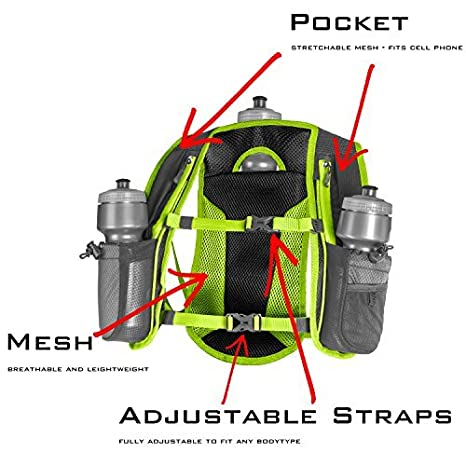 Amazon.com : SLS3 Running Hydration Vest, Backpack, 3 Bottles, Adjustable Strap System - Red : Sports & Outdoors