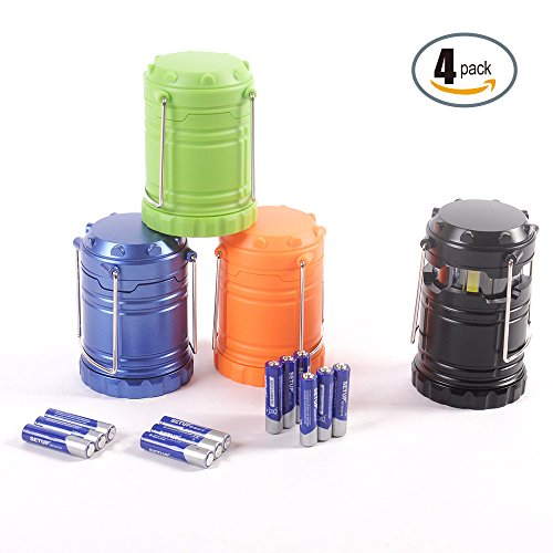 Portable Outdoor LED Camping Lantern,Folding Lamp Waterproof Super Bright COB Technology With 12 AAA Batteries- Survival Kit for Emergency, Hurricane, Storm, Outage (4Pack four kinds of (Folding Lantern)