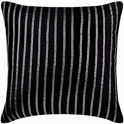 The HomeCentric Designer Black Euro Pillow Shams 26×26 inch 65×65 cm , Velvet Euro Size Pillow Covers, Striped, Modern European Pillow Shams – Bring Back Black