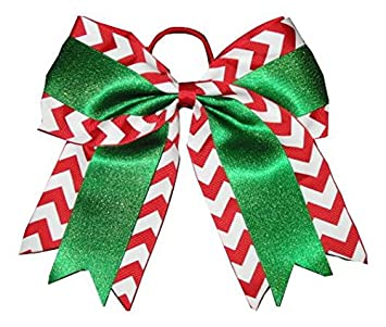 new christmas chevron glitter cheer bow pony tail 3 inch ribbon girls cheerleading
