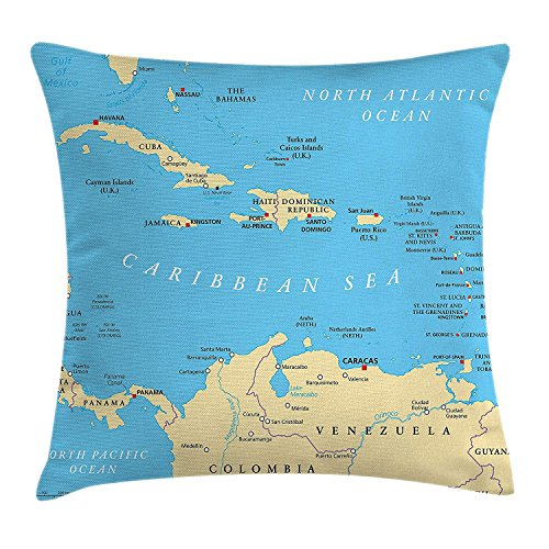 Pillowcase River Dan - Wanderlust Throw Pillow Cushion Cover by, Caribbean Political Map Capitals National Borders Important River Image, Decorative Square Accent Pillow Case, 18 X 18 inches, Aqua Blue and White