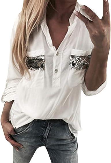 piabigka - Camisa de Manga Corta para Mujer, de algodón y Lino, Estilo Informal, con Blusa Blanco XL: Amazon.es: Ropa y accesorios