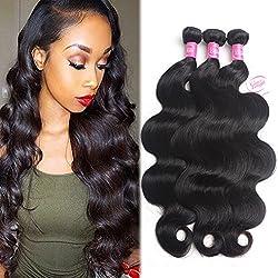 Gracelength 9A Brazilian Human Hair Bundles (12 14 16 Total 300g) Body Wave Bundles 100% Unprocessed Virgin Human Hair Body Wave Double Weft 3 Weave Bundles Natural Black Color