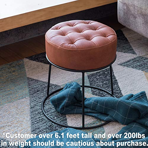 Art-Leon Stackable Stool Footstool Faux Leather Pouf Foot Rest for Living Room, Vanity, Dorm, Apartment, (Cinnamon ()