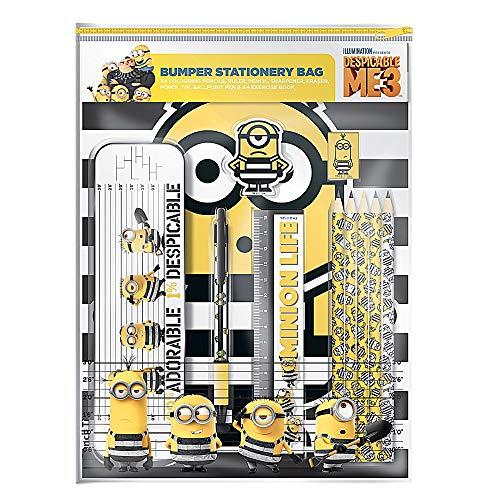 Genuine Despicable Me 3 Minions Bumper Stationery Set Pencil Pen Book Eraser]()