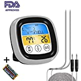 KETOTEK Meat Thermometer Digital BBQ Oven Cooking Thermometer Touchscreen for Grill Kitchen Roasting Food,FDA Dual Stainless Probes and 2 AAA Batteries Included