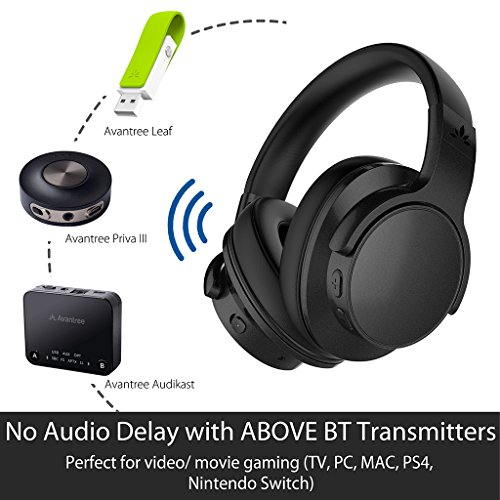 Avantree [Upgraded] Active Noise Cancelling Wireless Headphones for Airplane Travel Mowing, Bluetooth Wired ANC Sound Cancelling Over Ear Headphones with Mic, Fast Stream Hi-Fi Headset for TV PC Phone by Avantree (Image #4)