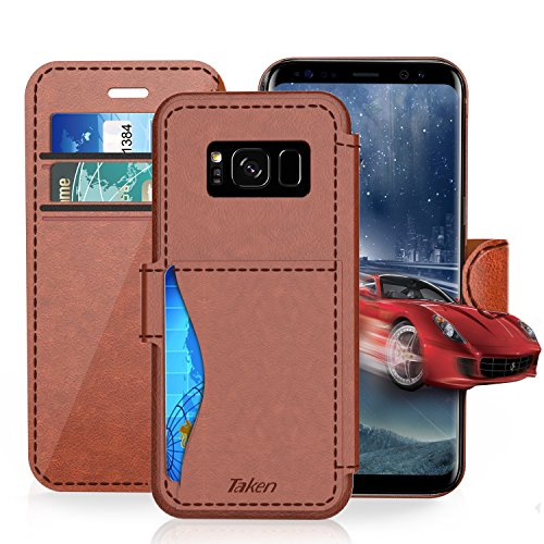 Samsung Galaxy S 8 / S8 Leather Wallet Case with Cards Slot and Metal Magnetic, Slim Fit and Heavy Duty, TAKEN Plastic Flip Case / Cover with Rubber Edge, for Women, Men, Boys, Girls (Dark Brown)