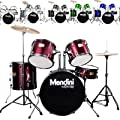 Mendini by Cecilio 5-Piece Full Size 22-inch Drum Set + Cymbals, Drumsticks & Throne by Cecilio Musical Instruments