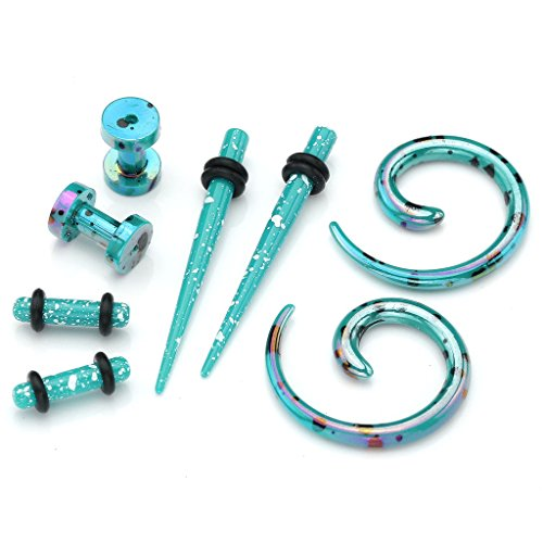 Stretching Turquoise Arcylic Tunnels Expander