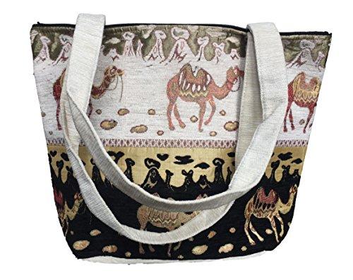 New Tote borsa a tracolla o cotone arazzo etnico tappeto Fair Trade–nero