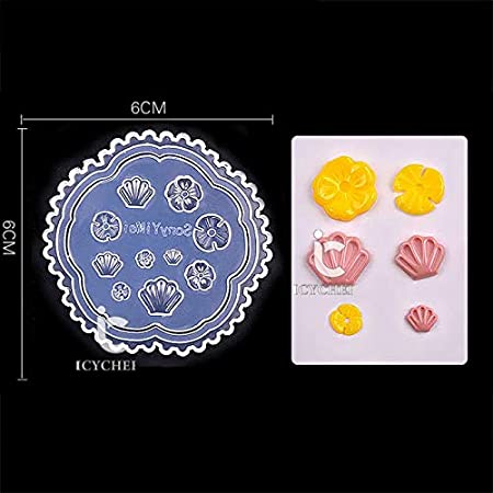 ICYCHEER 6 Style 3D Acrylic Mold For Nail Art Decoration DIY Heart Shape Shell Design Silicone Nail Art Templates Pattern Manicure Beauty Nails Art Carving Mold (flower) ever.grace