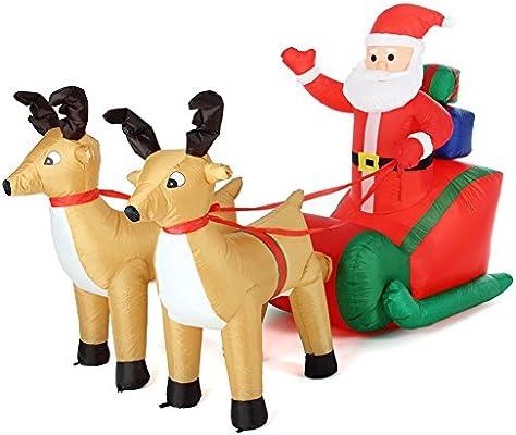 Bakaji Navidad Papá Noel En Trineo hinchable con 2 renos ...