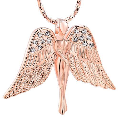 Imrsanl Cremation Jewelry with Angel Lady Charm Locket Memorial Ash Pendant - Urn Necklace for Ashes Wings Keepsake Jewelry for Women Girls (Rose Gold)