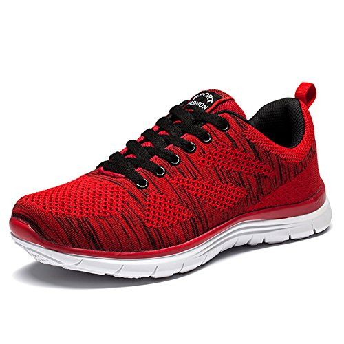 Men 's Running Shoes Leisure Shoes Sports Fitness Sports Shoes Casual Knitting Lace Outdoor Sports Shoes Red NSq9sgTW0