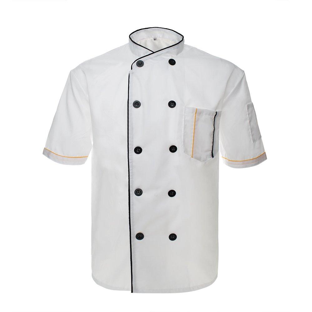 TopTie Unisex Short Sleeve Chef Coat Jacket-White2-M by TopTie