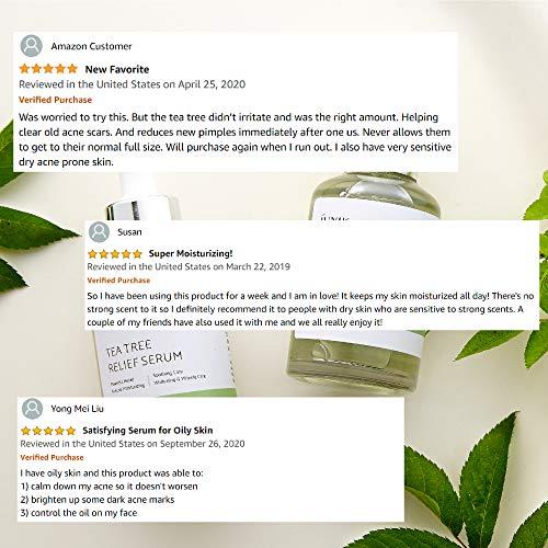 iUNIK Tea tree Relief Natural Facial Serum 1.71 Fl Oz, Acne Treatment Serum Ampoule Clear Skin – Face Serum for Acne, Breakout, Pimple - Tea Tree 67%, Centella Asiatica