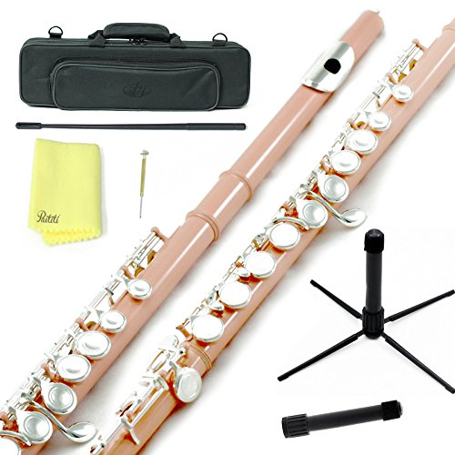 Sky C Flute with Lightweight Case, Cleaning Rod, Cloth, Joint Grease and Screw Driver - Velvet Pink/Silver Closed Hole