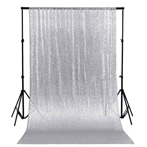 ShinyBeauty Sequin Backdrop-8FTx8FT-Silver, Sequin Curtain Backdrops for Photo Booth and Photography baby shower Props Background Glitter Wedding Photobooth -