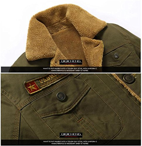Jacket Fur Cotton Winter Outwear Quilted FUNFOA Military Collar Army Men's Warm Casual Green Parka Plus Cargo Coat Button wIx4vSqRn
