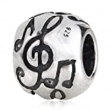 Melody Music Note Charm 925 Sterling Silver Table G Clef Charm for Charms Bracelet