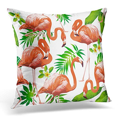 li long Throw Pillow Covers Pink Miami Flamingo Bird and Tropical Flowers Yellow Party Decorative Pillow Case Home Decor Square 18W X 18L Pillowcase -