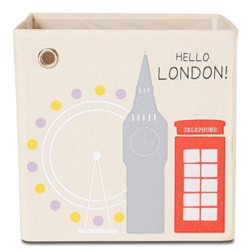 Storage Box by kaikai & ash, Canvas Foldable Toy Bin, Travel Theme Decor for Kids Room and Baby Nursery - Hello London!