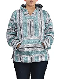 Striped Hoodie Woven Eco-Friendly Pullover (X-Large, Pastel Mint)