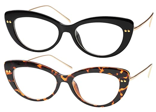 367a3e9fa5 SOOLALA Ladies Vintaeg Designer Wide Frame CatEye Reading Glasses w Rivet