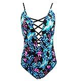 QVKis Women Sexy One Piece Swimsuit Crisscross Push up Swimwear