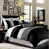 Chezmoi Collection 6-Piece Luxury Stripe Comforter Bed-in-a-Bag Set, Twin, Black/White/Grey