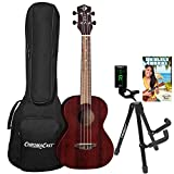 Luna Vintage Mahogany Tenor Ukulele with ChromaCast Accessories, Red Satin