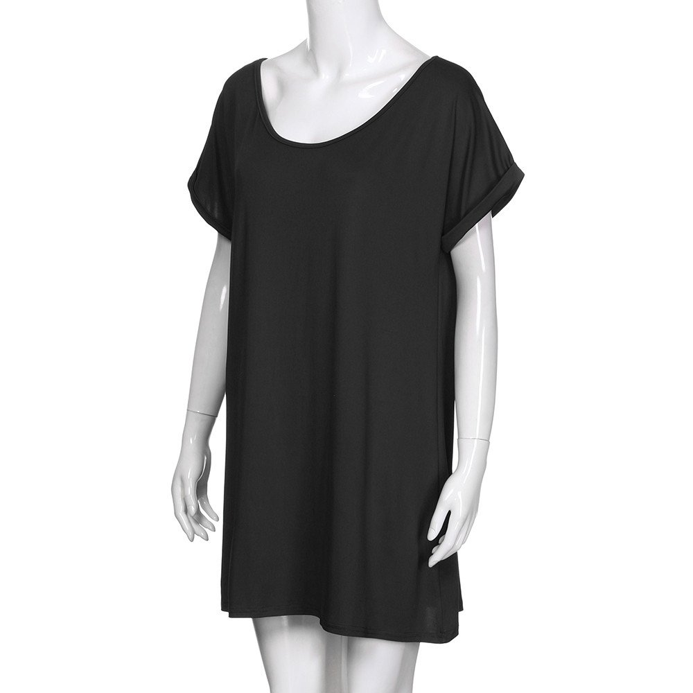 general3 Womens Plus Size T-Shirt Dress Casual Solid Cold Shoulder Short-Sleeve Plain Dress Night Wear