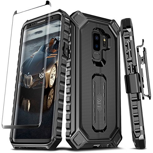 Samsung Galaxy S9 PLUS Case, ELV [Croco Series] Premium Holster Defender Belt Clip Rugged Case - Curved Glass Screen Protector & Kickstand for Samsung Galaxy S9 Plus (BLACK) - Kickstand Case Screen Protector