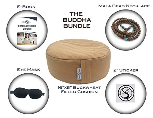 """NEW Meditation Pillow Cushion Plus Eye Mask & Mala Bead Necklace & Meditation E-Book - Improve Posture and Comfort with our 16""""x 5"""" Zafu Buckwheat Yoga Bolster - Achieve Mindfulness and Self Awareness by Meditation Minute"""