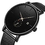 Mens Watch Ultra Thin Analog Quartz Watch Fashion Minimalist Wrist Watch Waterproof Black Stainless Steel Mesh Band Watch with Date Wrist Watches for Men