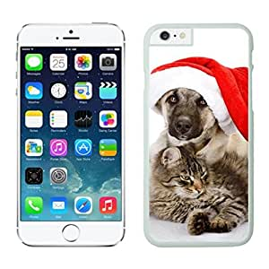 Custom-ized Phone Case Christmas Dog With Red Hat and Cat White Phone Case For Iphone 6 4.7 Inch