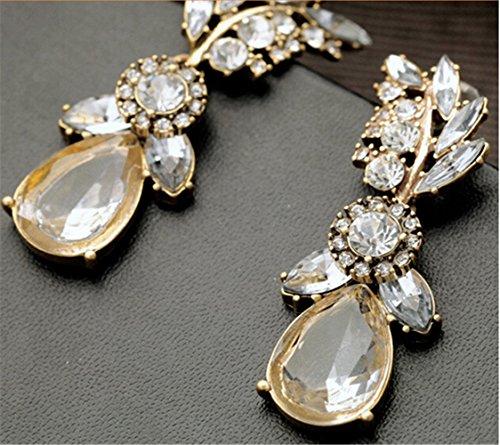 P.phoebus Gold Vintage Swarovski Crystal Studs Earrings Clear Rhinestones Dangle Charms Hoops For Women Girls (Clear Earrings Crystal Diamond)
