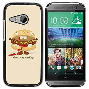 PC/Aluminum Funda Carcasa protectora para HTC ONE MINI 2 / M8 MINI Hot Dog Sandwich Junk Food Animation Art / JUSTGO PHONE PROTECTOR