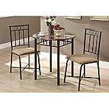 Monarch Specialties Bronze Metal and Cappuccino Marble Bistro Dining Set, 3-Piece