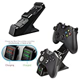 PDP Energizer Xbox One Controller Charger with Rechargeable Battery Pack for Two Wireless Controllers Charging Station  Black