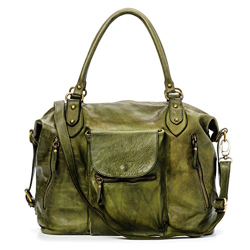 Ira del Valle, Borsa Donna, In Vera Pelle, Vintage, Modello Large Miami Streets Bag, Made In Italy Verde anticato