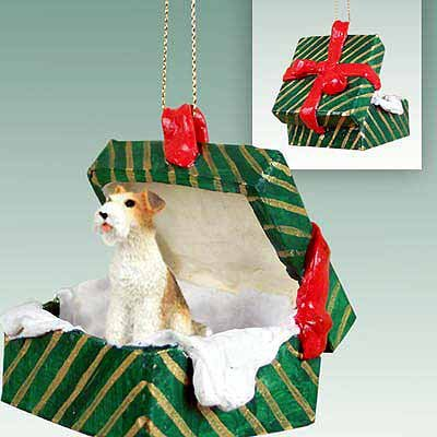 Conversation Concepts Wire Fox Terrier Red Gift Box Green Ornament